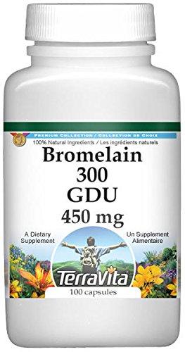 Bromelain 300 GDU - 450 mg (100 capsules, ZIN: 519383) - 3 Pack by TerraVita