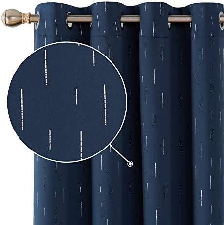 Deconovo Thermal Insulated Room Darkening Navy Blue Blackout Curtains with Silver Line Foil Printed Grommet Curtains for Living Room 2 Curtain Panels 52 by 84 Inch