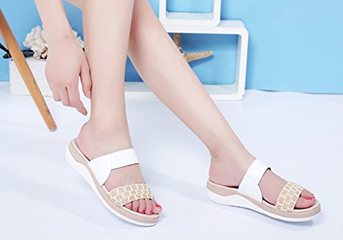 Leisure ZCJB Slippers Summer Sandals Woman Wear Outer Flat Bottom Slip Pregnant White Women Non Out Shoes q767WdUr