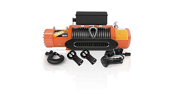 ORCISH - Cabrestante eléctrico de 12 V IP67, resistente al agua, cuerda sintética, capacidad de carga de 13000 libras