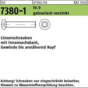 200 Inbus Linsenkopfschrauben ISO 7380-1 10.9 verzinkt M8x35
