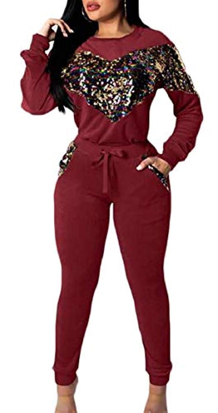 バズプレーヤー手荷物Fly Year-JP 女性2ピース衣装スパンコールパターンスウェットシャツとパンツトラックスーツ Wine Red US Large