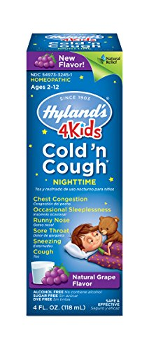 Hyland's 4 Kids Nighttime Cold'n Cough Relief Syrup-Grape, Natural Relief of Common Cold, 4 Ounces