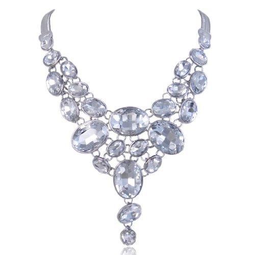 EVER FAITH Silver-Tone Art Deco Clear Rhinestone Bib Statement Necklace