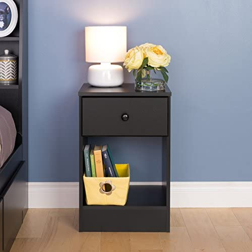 Prepac Astrid Tall 1 Drawer Nighstand, Black