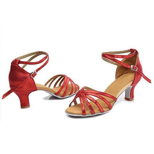 Mujeres Salsa Zapatos Rojo Tango Latinos Baile Danza Performance Salón Ykxlm Esmf1810 De amp;niña Zapatillas Calzado modelo qCd8Ewp