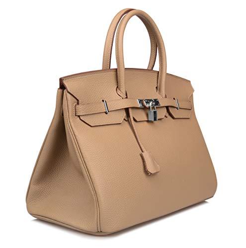 3232c691b8a Ainifeel Women s Padlock Genuine leather 40CM Handbags (40cm(silver  Hardware)