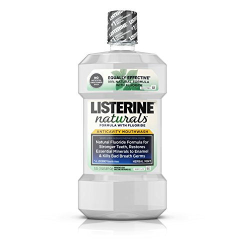 Listerine Naturals Anticavity Fluoride Mouthwash, Oral Care To Prevent Cavities, Kill Bad Breath Germs and Restore Tooth Enamel, Herbal Mint, 1 L (Care Anticavity Fluoride Mouthwash)