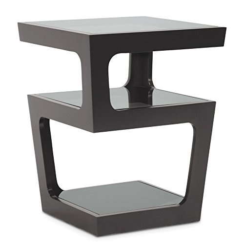 Baxton Studio Clara Modern End Table With 3 Tiered Glass Shelves, Black
