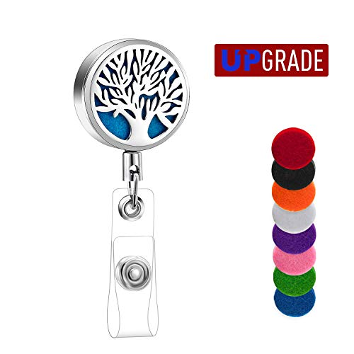 Aromatherapy Id Badge Holder Stainless Steel Retractable Badge Reel for Nurses Doctor Essential Oil Diffuser Badge Holder Reel Clip Name Card Holder with 8 Color - Stainless Clip Steel Badge