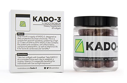 Nootrobox KADO-3 – Krill & Fish Oil DHA/EPA Omega-3 Blend, Vitamins D & K, and Astaxanthin Nootropic Stack + Peppermint Aftertaste (60 Count Soft Gels) For Sale