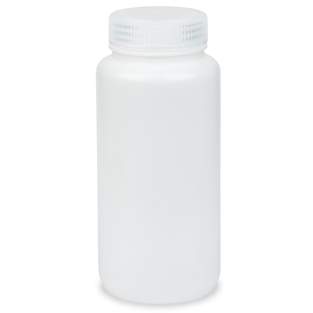 1000ml Wide-Mouth Round Media Storage Bottle, HDPE Material, Screw Cap in PP Material, Leakproof, Karter Scientific 239A2 (Pack of 4)