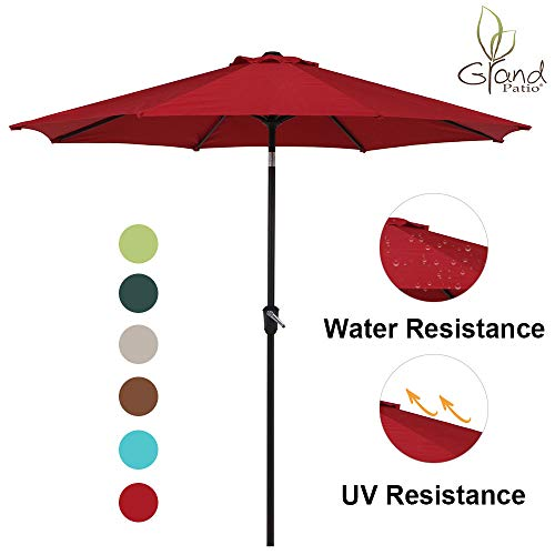 Base Umbrella 9 Market (Grand Patio 9 FT Enhanced Aluminum Patio Umbrella, UV Protected Outdoor Umbrella with Auto Crank and Push Button Tilt, Red)