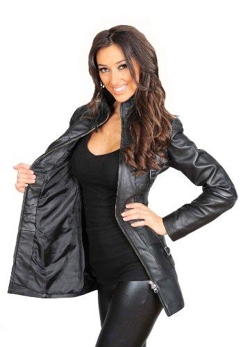 Des Up Noir Carol Trendy Mesdames Veste Cuir Dernier Fitted Manteau 3 Femmes 4 Véritable Zip r6CPrq