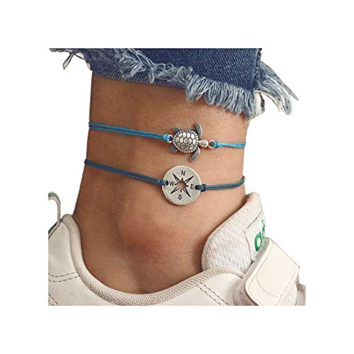 - LANG XUAN Blue Compass Turtle Anklet Multilayer Charm Beads Sea Handmade Boho Anklet Foot Jewelry for Women (B)