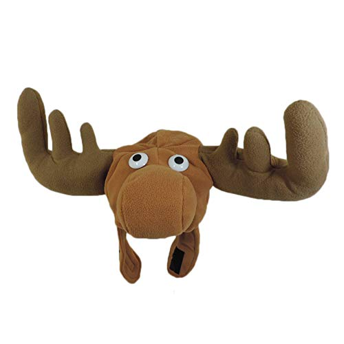 Brown Plush Crazy Moose Hat with Antlers and Chin Strap