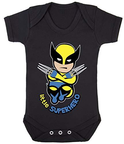 Colour Fashion Baby Wolvie Little Superhero Bodysuits Onesie Hypoallergenic 100% Cotton (Black, 0-3 Months) -