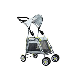 Outward Hound Walk N Roll Pet Stroller Fold Up Stroller For Small Dogs and Cats, with Locking Brakes and Shade Shelter