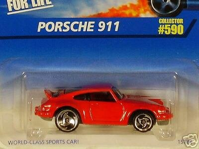 (1997 - Mattel - Hot Wheels - Porsche 911 - Red - Saw Blade Wheels / Large Rear Wheel - 1:64 Scale Die Cast - Collector #590 - MOC - Limited Edition - Collectible)