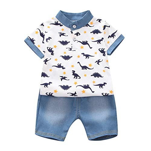 (SOWU Toddler Kids Set Baby Child Two Piece Dinosaur Print Lovely Simple Shirt Tops + Denim Shorts Outfits Sets Clothes)