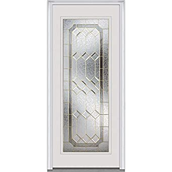 National Door Z001417R Steel Prehung Right Hand Inswing Entry Door,  Majestic Elegance Decorative Glass,
