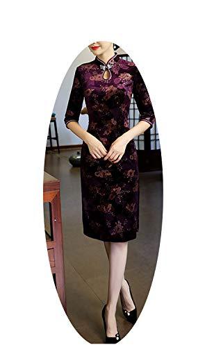 生産的具体的に核伝統的な中国のドレス女性秋冬ファッションヴィンテージスリムドレス,パープルショート,XXL