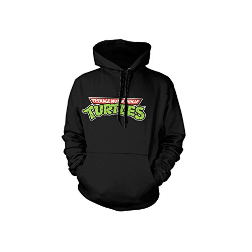 Officially Licensed Merchandise TMNT - Classic Logo Hoodie (Black), X-Large