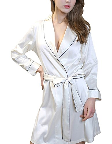 Burvogue Mujer Manga Larga Camisón De Satén Kimono Albornoz blanco
