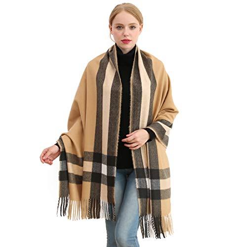 Longwu Bufanda de lana de cachemira suave para mujer Manta y envoltura de pashmina grande Manta de estola calida Camello