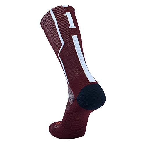 (TCK Player ID Jersey Number Crew Socks Maroon White Singles (Large, 1 - Single Sock) )