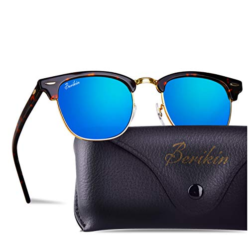 Berikin Vintage Square Style Sunglasses For Men Women Toroise Frame Blue Flash Glass Lenses 100% UV400 Protection
