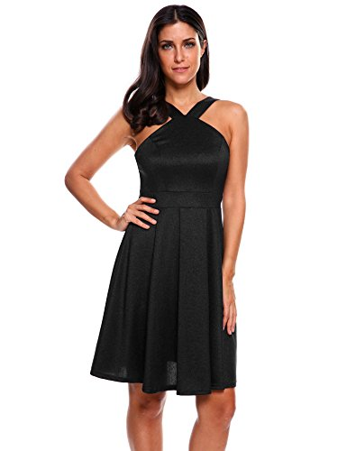 Meaneor Women¡¯s Sexy Slim Sleeveless Mini Skater Dress (Black, L) ()