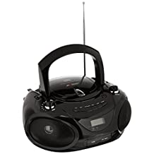 Axess PB2703-BK Portable MP3/CD Boombox with AM/FM Stereo, USB, SD, MMC, AUX Inputs (Black)