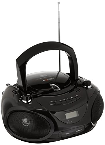 AXESS PB2703BK Portable MP3/CD Boombox with AM/FM Stereo, USB, SD, MMC (Black) (12 Volt Cd Player Portable)