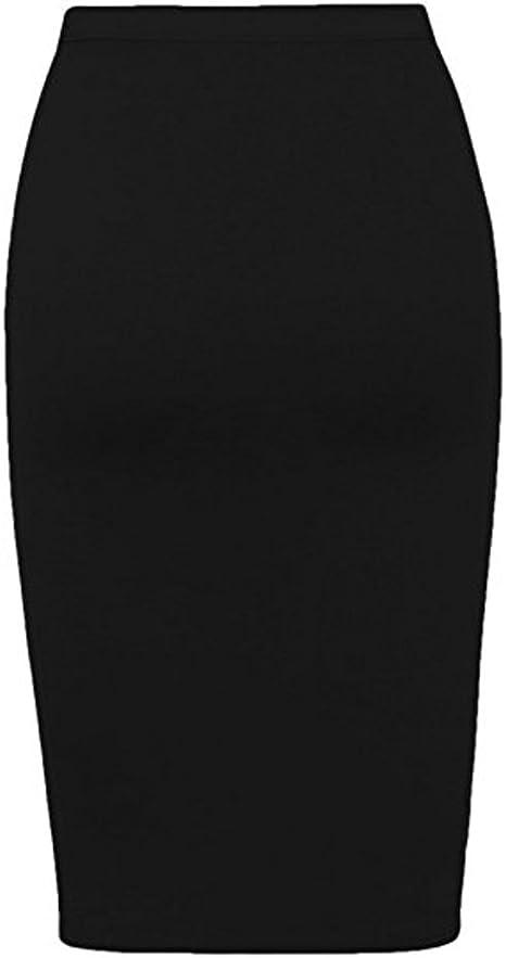 Plain Viscose Office Work Pencil Stretch Bodycon Midi Skirt Elastic Waist 8-14