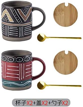 HRDZ Taza de cerámica Taza de café de Personalidad Creativa pequeña Taza Tapa Cuchara de Gran Capacidad