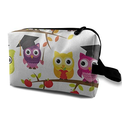 Receive Bag Custom School Graduation Themed Cute Owl Bird Makeup Pouch Waterproof Toiletries Organizer Bag For Travel Packing Bag With Zipper