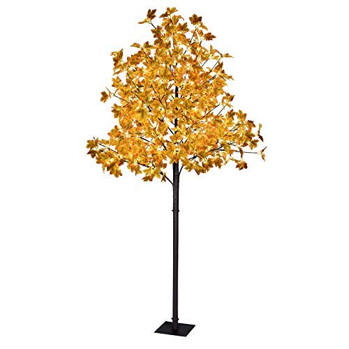 LIGHTSHARE Maple Tree 8 ft. - 264 LED Warm White Lights, Natural Looking Maple Leaves