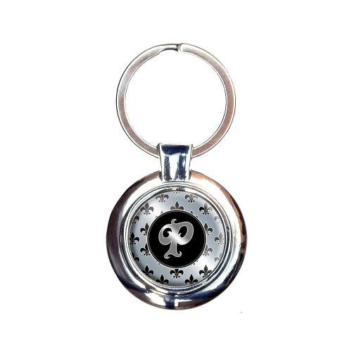 Letter P on Fleur De Lis Pattern Keychain Key Ring