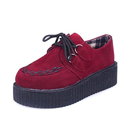 CHNHIRA Womens Creeper Platform Shoes Lace-Up Goth Punk Wedge Fashion Sneaker Red Suede m1NS9