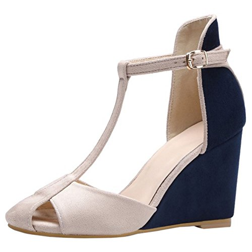 1 Moda Zanpa blue Cuna de Mujer Sandalias Tacon WPqw5YZq