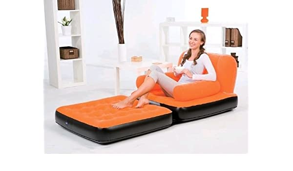 Sofá cama hinchable individual Bestway Orange 67277: Amazon ...