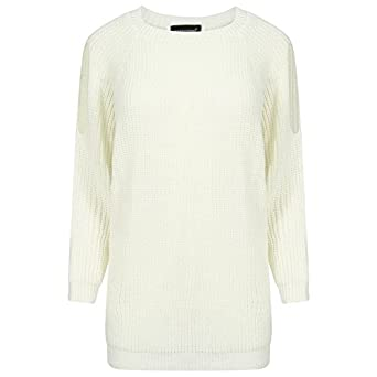 61eb16f4d1b7 New Women Ladies Cold Cutout Shoulder Chunky Cable Knit Warm Jumper Sweater  Top (XL (16-18)