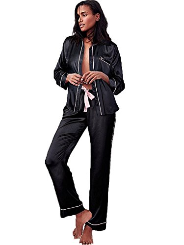 Victoria's Secret The Afterhours Satin Pajama Set 2 Piece Set Black Medium Size Regular Length