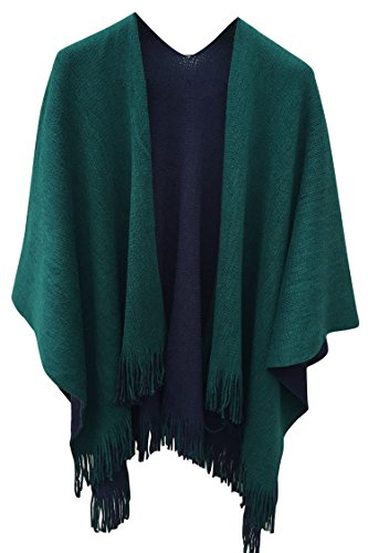 Pink Queen Women Winter Solid Green Fringe Reversible Cashmere Poncho Capes Coat