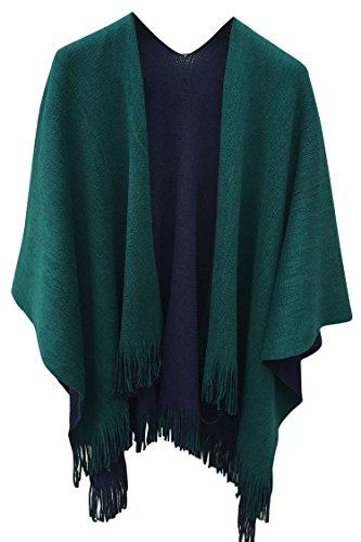 VamJump Women Winter Knit Reversible Scarves Cape Oversized Blanket Shawl Scarf