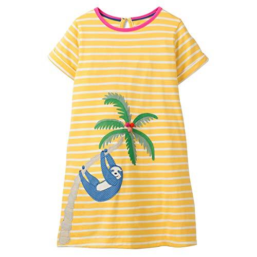 Little Girls Dress Casual Cotton Kids Unicorn Appliques Striped Jersey Dress (5T, 1gds101)