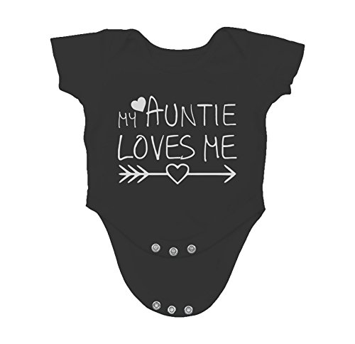 My Auntie Loves Me - Funny for Nephew Niece Infant Creeper, One-Piece Baby Bodysuit (12 Months, Black)