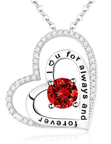 July Birthstone created Ruby Necklace I Love you for Always and Forever Two Love Hearts Pendant Necklace Fine Sterling Silver Jewelry for Women Teen Girls Birthday Gifts Anniversary Gifts for Her