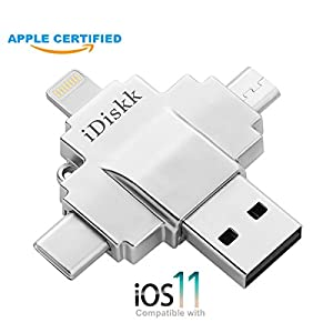 iDiskk USB 3.0 128GB iPhone Lightning Flash Drive for iPhone, iPad, iPod,iPhone External Storage iPad USB Apple MFI Certified